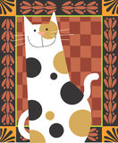 Spotty Cat. Is smiling in a decorative background Royalty Free Stock Photos