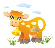 Spotty cow with a bell Royalty Free Stock Images