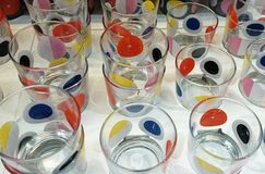 Spotty glass. Glasses stacked for sale Royalty Free Stock Photos