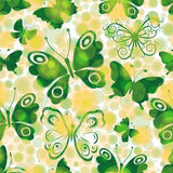 Spotty spring seamless pattern with green butterflies Stock Photos