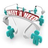 Spotyka potrzeby 3d nabywc sprzedawców produktu słowo Łączącej usługa wewnątrz ilustracja wektor