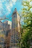 Spotykający życia wierza Skyscaper w Manhattan Miasto Nowy Jork usa Ameryka fotografia stock