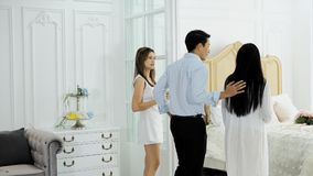 The spouse walk into the sample room in condominium Stock Photos