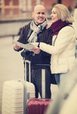 Spouses with baggage and map Stock Images