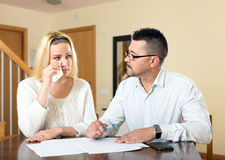 Spouses having financial problems Royalty Free Stock Photo