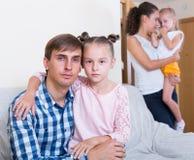 Spouses making decision to split up. Spouses with  daughters making decision to split up Royalty Free Stock Photos
