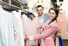 Spouses while shopping at boutique Stock Photography