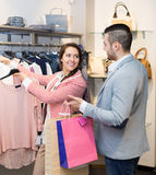 Spouses while shopping at boutique Royalty Free Stock Photography