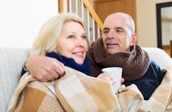 Spouses under blanket drinking tea Stock Image