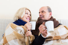 Spouses under blanket drinking tea. Mature spouses under blanket drinking tea on couch Royalty Free Stock Photo