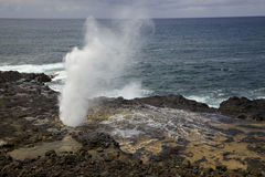 Spouting Horn on Kauai. The blowhole known as Spouting Horn on south shore of Kauai Royalty Free Stock Photos