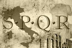 Spqr. Composition of some elements of old rome Stock Photography