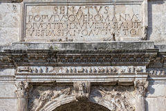 SPQR augustus Romański wpisowy imperator Fotografia Stock