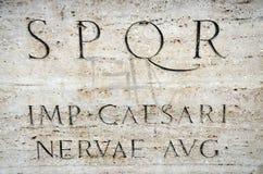 SPQR - IMP CAESARI - Senatus Populusque Romanus. SPQR is Senatus Populusque Romanus, official emblem of modern-day Rome and classic symbol of Ancient Rome Stock Photo