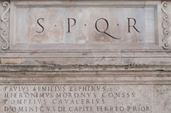 SPQR in the Piazza Campidoglio a Royalty Free Stock Images