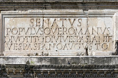 SPQR Roman inscription augustus imperator Royalty Free Stock Photos