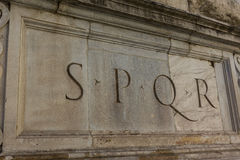 SPQR. Romanic column with old  writing SPQR Royalty Free Stock Image