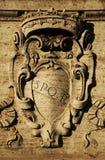 SPQR. Rome, Italy. Roman symbol SPQR, Italian architecture detail Stock Images