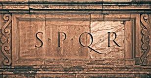 SPQR. Rome, Italy. Roman symbol SPQR, Italian architecture detail Stock Photo