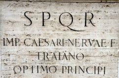 SPQR -  Senatus Populusque Romanus. SPQR is Senatus Populusque Romanus, official emblem of modern-day Rome and classic symbol of Ancient Rome, phrase found all Royalty Free Stock Image