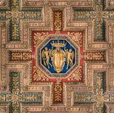 SPQR shield in the ceiling of the Basilica of Santa Maria in Ara Coeli, in Rome, Italy. The Basilica of St. Mary of the Altar of Heaven is a titular basilica in Stock Photography
