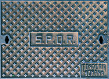 SPQR, typical manhole cover in Rome Stock Photo