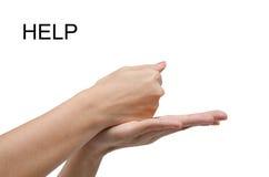 Språk för amerikanskt tecken för ASL för HJÄLP för kvinnahandtecken Royaltyfri Foto