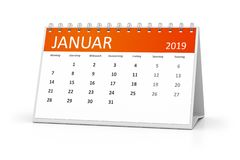 språk för tabellkalender2019 januari tysk stock illustrationer