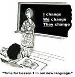 Språket av ändring Arkivfoto