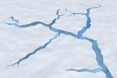 Sprünge in der Schneeoberfläche der gebrochenen Gletschernahaufnahmeansicht lizenzfreie abbildung