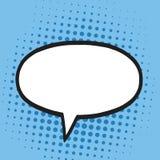Sprache-Blase im Knall Art Comics Style Blau färbt Retro- Illustrations-Hintergrund Lizenzfreie Stockfotos