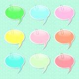 Sprache-Blasen-Aufkleber-Formen in den Pastellfarben Stockbilder