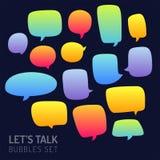 Sprache-Blasen-Gesprächs-traditionelle Gekritzel-Ikonen-Skizzen-handgemachtes DES stock abbildung