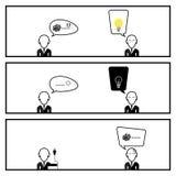 Sprache-Blasen-Kommunikation mit Geschäftsmann-In Three Box-Geschichte Stockfoto