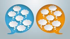 Sprache-Blasen-Loch-Gedanken-Blasen Lizenzfreie Stockbilder