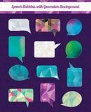Sprache-Blasen mit geometrischem Schmutz-Hintergrund Stockbild