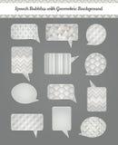 Sprache-Blasen mit geometrischem Schmutz-Hintergrund Lizenzfreies Stockbild