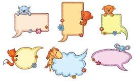 Sprache-Blasen mit Karikatur-Tieren Lizenzfreie Stockfotos