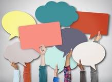 Sprache-Blasen-Zeichen-Symbol-Kommunikations-Konzept Stockbilder