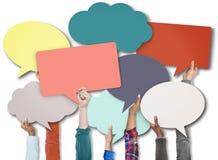 Sprache-Blasen-Zeichen-Symbol-Kommunikations-Konzept Stockfotografie