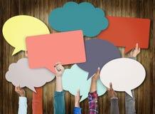 Sprache-Blasen-Zeichen-Symbol-Kommunikations-Konzept Lizenzfreie Stockfotos