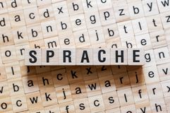 Sprache - língua de palavra no idioma alemão, conceito da palavra imagem de stock