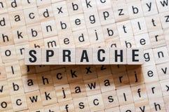Sprache - lingua di parola su lingua tedesca, concetto di parola immagine stock