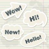 Spracheballone auf Notizbuch grunge Blatt Lizenzfreie Stockbilder