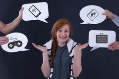 Spracheballone und unentschiedenes Mädchen Lizenzfreies Stockfoto
