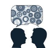 Spracheblase mit männlichen Profilen Stockbilder