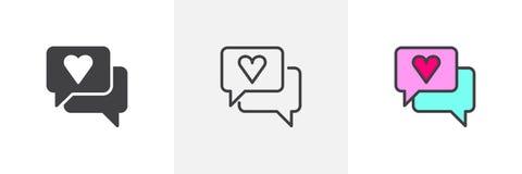 Spracheblase mit verschiedenen Artikonen des Herzens Stockfotos