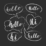 Spracheblasen mit hallo Wort Hand gezeichneter Vektor Lizenzfreie Stockbilder
