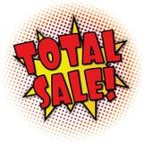 Spracheblasenexplosionsfahne der Gesamtverkaufskarikatur komische Stockfoto