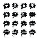 Spracheblasengefühlikonen - lieben Sie, wie, Ärger, wtf, lol, O.K. Stockfotografie